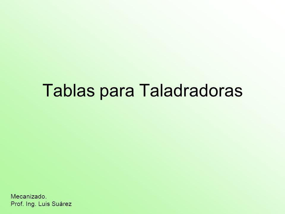 Tablas para Taladradoras Mecanizado. Prof. Ing. Luis Suárez