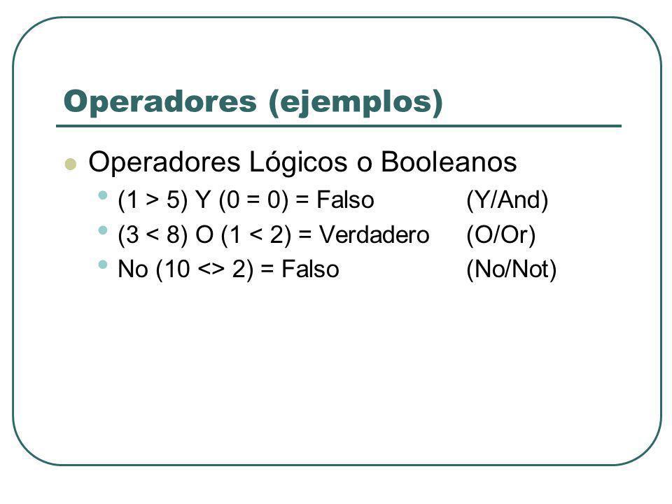 Operadores (ejemplos) Operadores Lógicos o Booleanos (1 > 5) Y (0 = 0) = Falso (Y/And) (3 < 8) O (1 < 2) = Verdadero (O/Or) No (10 <> 2) = Falso(No/No