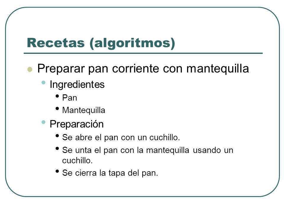 Recetas (algoritmos) Preparar pan corriente con mantequilla Ingredientes Pan Mantequilla Preparación Se abre el pan con un cuchillo. Se unta el pan co