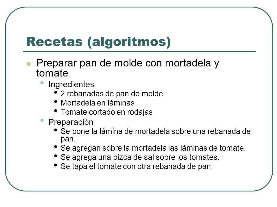Recetas (algoritmos) Viajar en Microbús al Instituto Elementos necesarios Pase escolar Dinero Algoritmo Hacer parar la micro que pasa cerca del CFT.