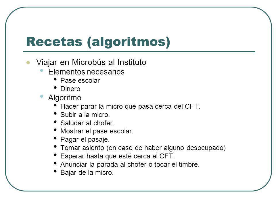 Recetas (algoritmos) Viajar en Microbús al Instituto Elementos necesarios Pase escolar Dinero Algoritmo Hacer parar la micro que pasa cerca del CFT. S
