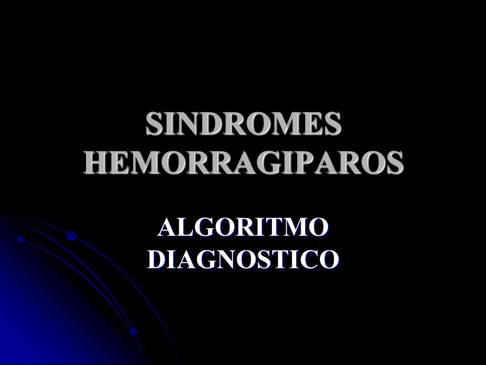 SINDROMES HEMORRAGIPAROS ALGORITMO DIAGNOSTICO