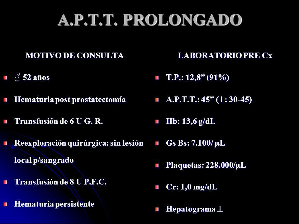 LABORATORIO de HEMOSTASIA T.P.: 13,4 (86%) A.P.T.T.: 52 ( : 35-50) Plaquetas: 385.000/µL Fibrinógeno: 244 mg/dL ( : 200-400) T.T.: 18 ( : 15-20) No antecedentes de sangrado, quirúrgicos ni de accidentes severos ¿QUE ESTUDIO PIDE A CONTINUACION.