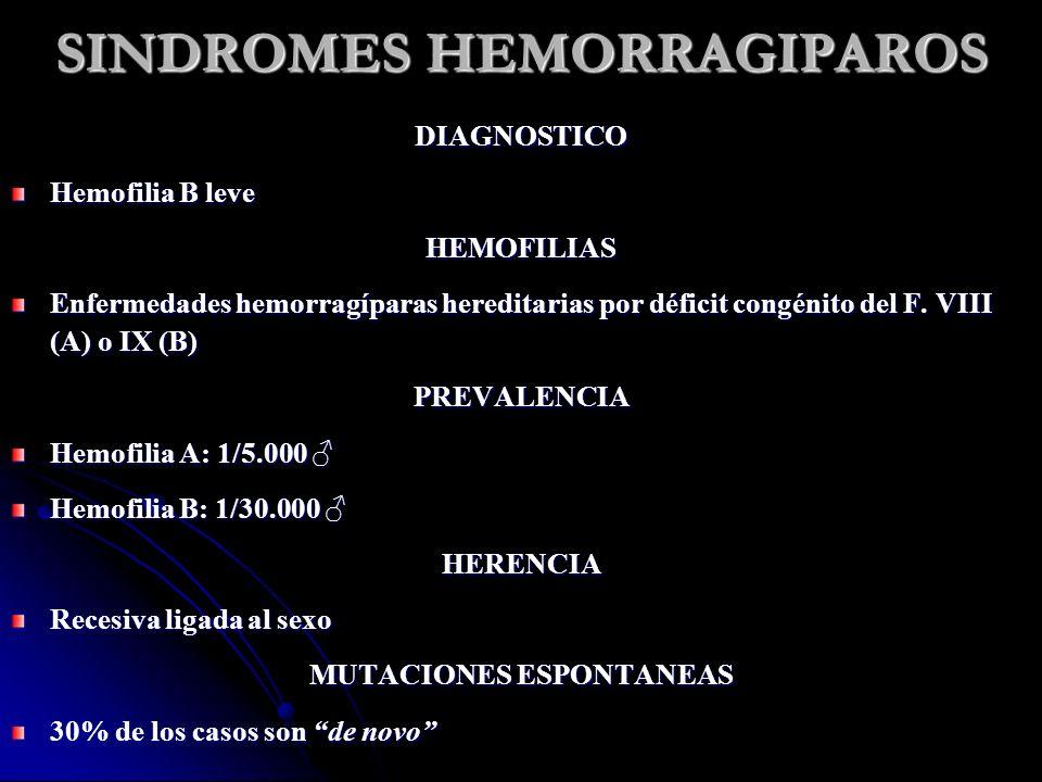SINDROMES HEMORRAGIPAROS MANIFESTACIONES CLINICAS 1.Sangrados en aparato locomotor: 90% Articulares: rodillas (>50%), codos, tobillos, hombros y muñecas o Hemartrosis (agudo) o Sinovitis crónica, fibrosis articular, dolor y limitación al movimiento Hematomas musculares (30%) o Síndrome compartimental o Shock hipovolémico