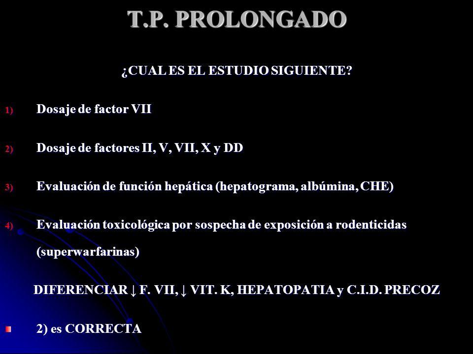 T.P.PROLONGADO F. II: 106% F. V: 98% F. X: 88% F.