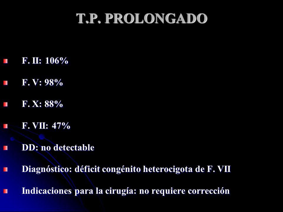 T.P. PROLONGADO F. II: 106% F. V: 98% F. X: 88% F. VII: 47% DD: no detectable Diagnóstico: déficit congénito heterocigota de F. VII Indicaciones para