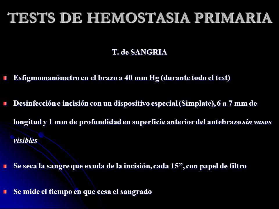 TESTS DE HEMOSTASIA PRIMARIA T. de SANGRIA Esfigmomanómetro en el brazo a 40 mm Hg (durante todo el test) Desinfección e incisión con un dispositivo e