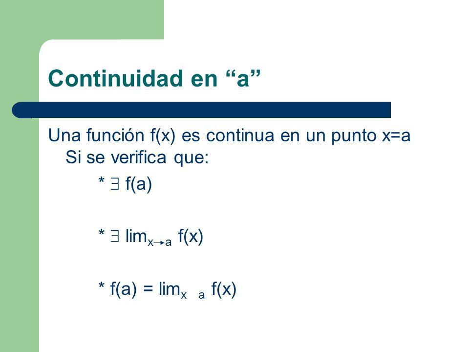 Continuidad en a Una función f(x) es continua en un punto x=a Si se verifica que: * f(a) * lim x a f(x) * f(a) = lim x a f(x)
