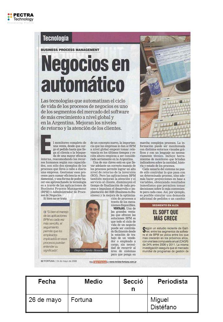 FechaMedioSecció n Periodista 26 de mayoFortunaMiguel Distéfano