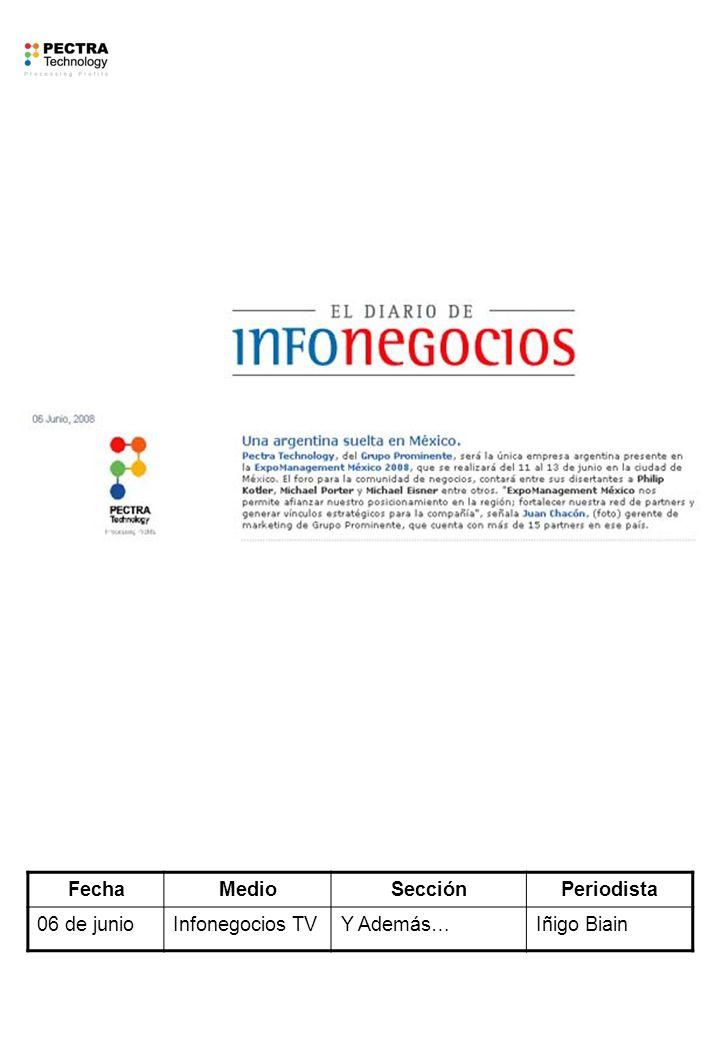 FechaMedioSecciónPeriodista 06 de junioInfonegocios TVY Además…Iñigo Biain