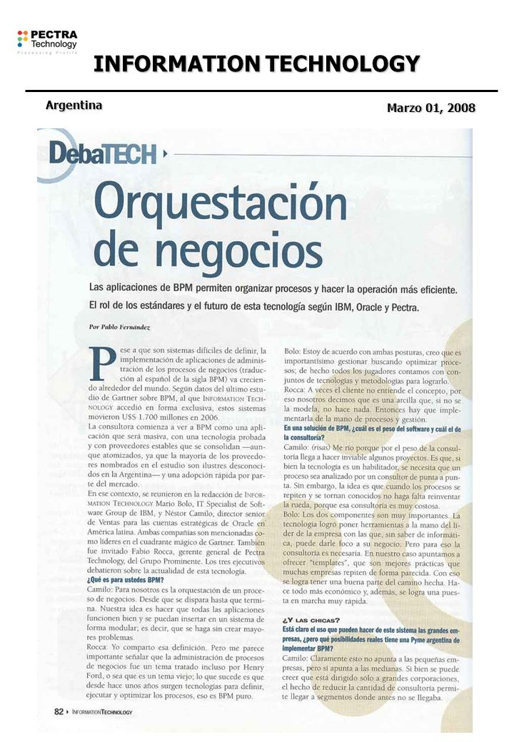 INFORMATION TECHNOLOGY Argentina Marzo 01, 2008