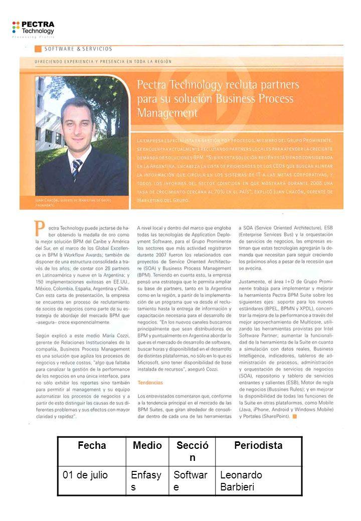 FechaMedioSecció n Periodista 01 de julioEnfasy s Softwar e Leonardo Barbieri