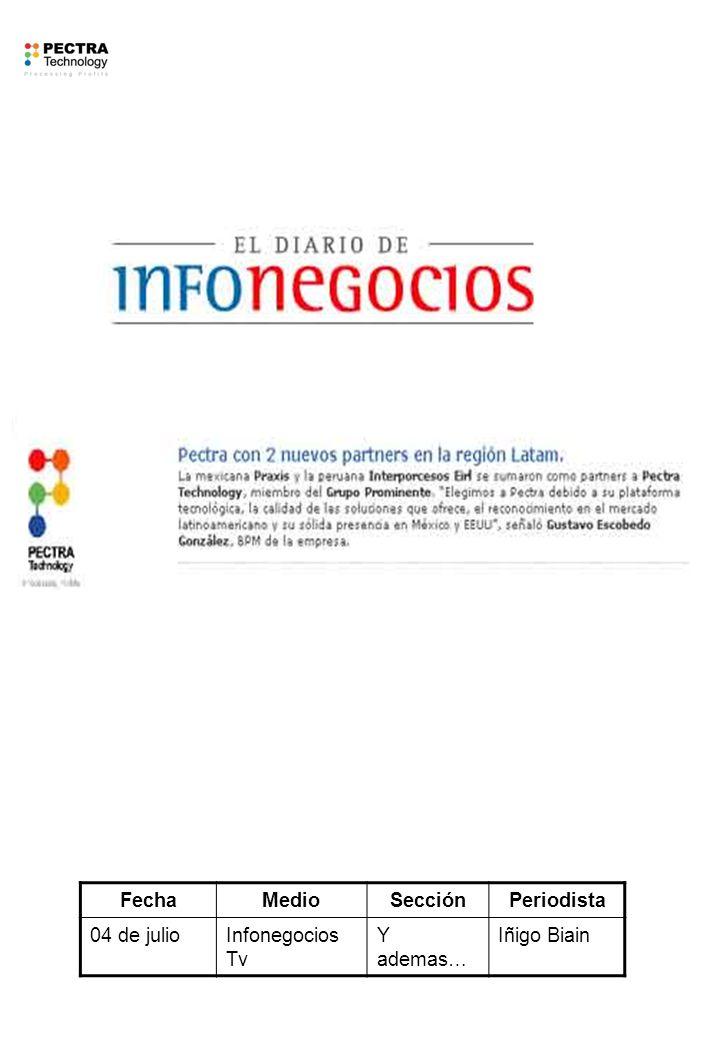 FechaMedioSecciónPeriodista 04 de julioInfonegocios Tv Y ademas… Iñigo Biain