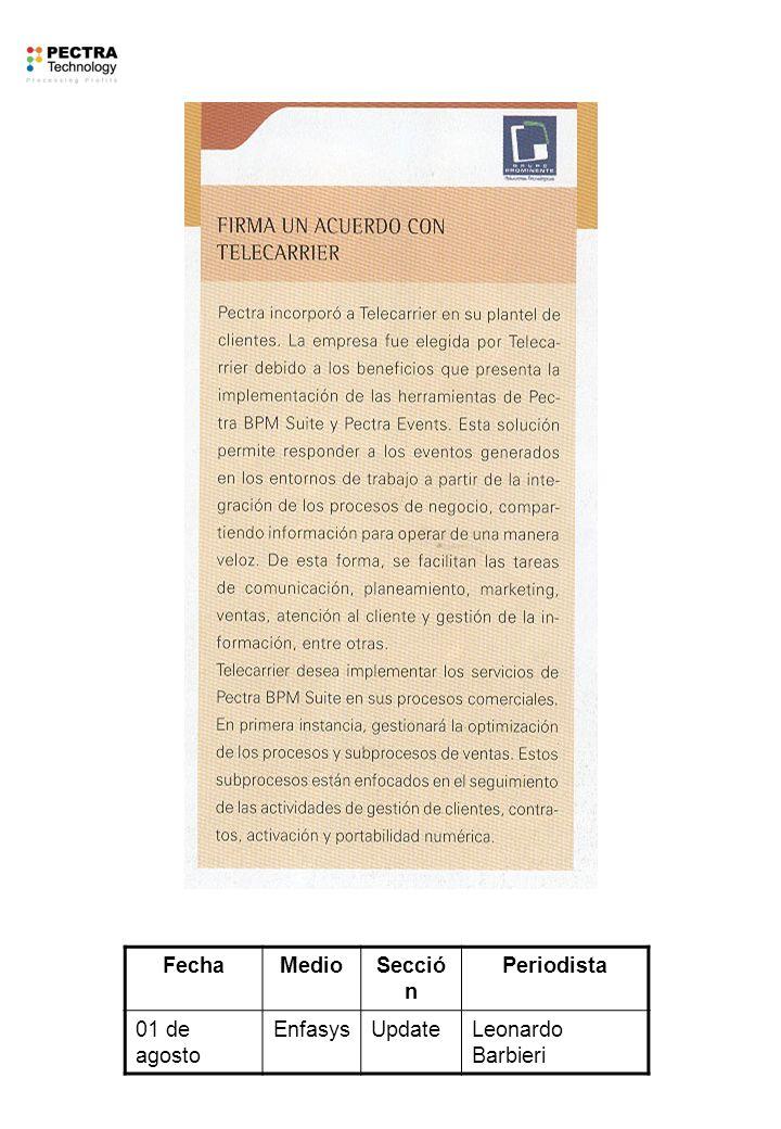 FechaMedioSecció n Periodista 01 de agosto EnfasysUpdateLeonardo Barbieri