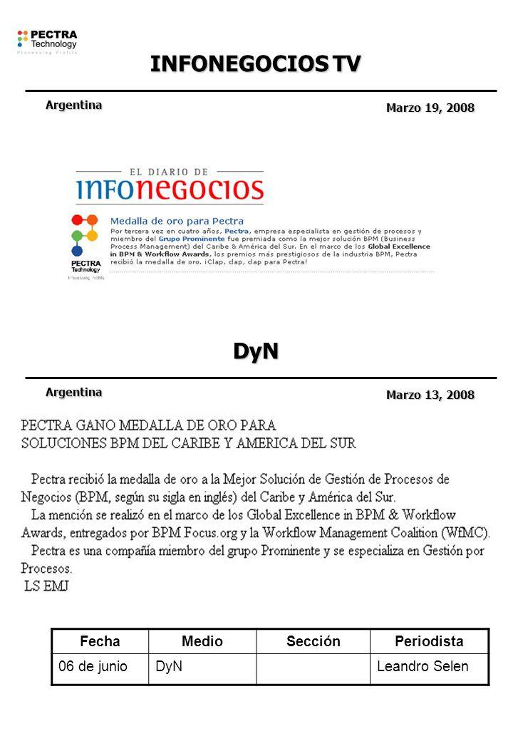 INFONEGOCIOS TV Argentina Marzo 19, 2008 DyN Argentina Marzo 13, 2008 FechaMedioSecciónPeriodista 06 de junioDyNLeandro Selen