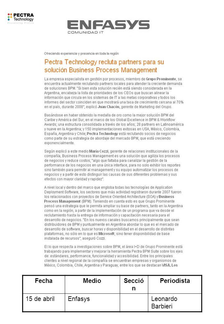 FechaMedioSecció n Periodista 15 de abrilEnfasysLeonardo Barbieri