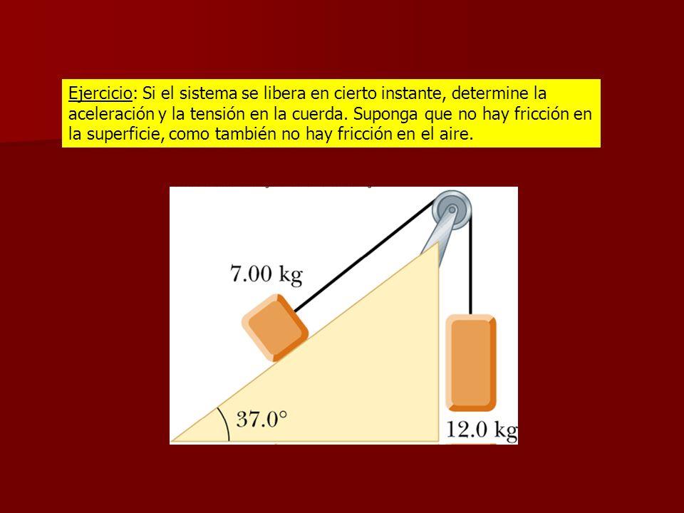 Ejercicio: Si el sistema se libera en cierto instante, determine la aceleración y la tensión en la cuerda. Suponga que no hay fricción en la superfici
