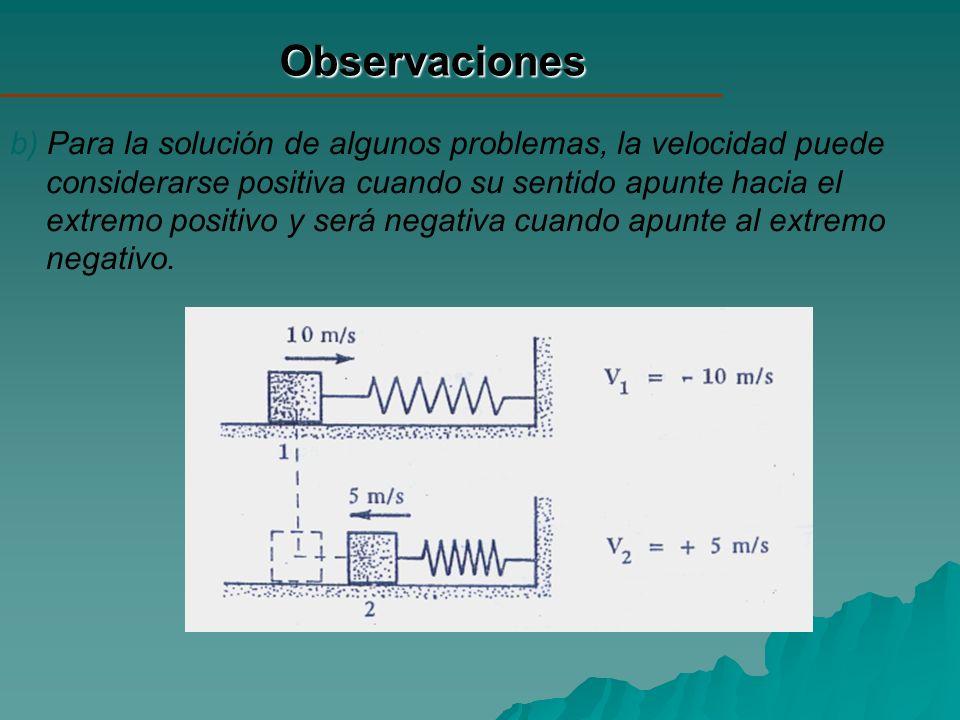 Observaciones b) Para la solución de algunos problemas, la velocidad puede considerarse positiva cuando su sentido apunte hacia el extremo positivo y