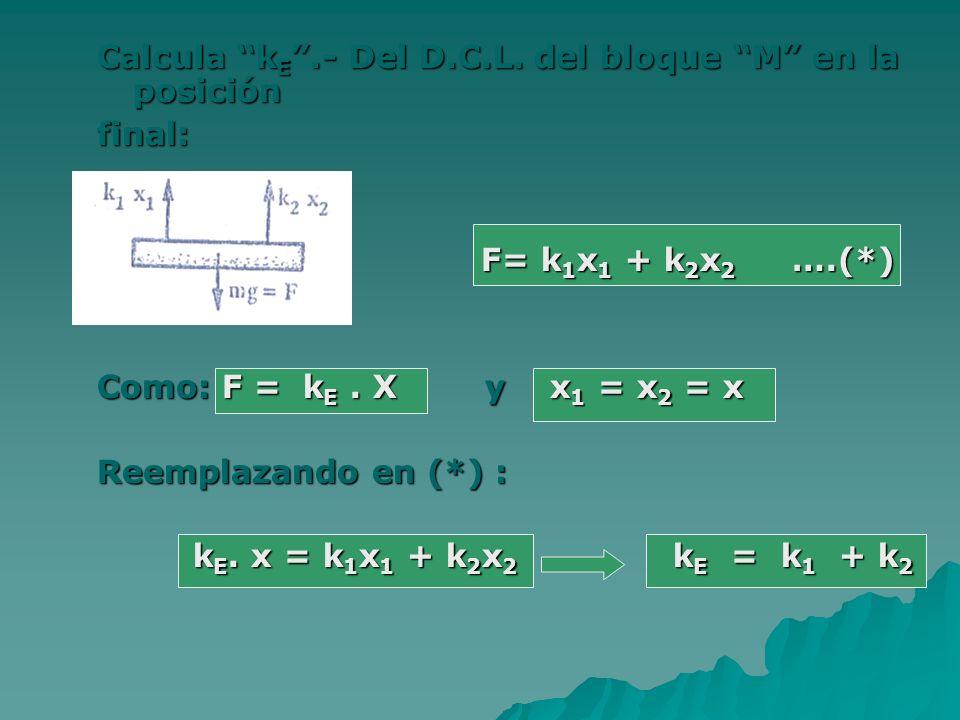 Calcula k E.- Del D.C.L. del bloque M en la posición final: F= k 1 x 1 + k 2 x 2 ….(*) Como: F = k E. X y x 1 = x 2 = x Reemplazando en (*) : k E. x =