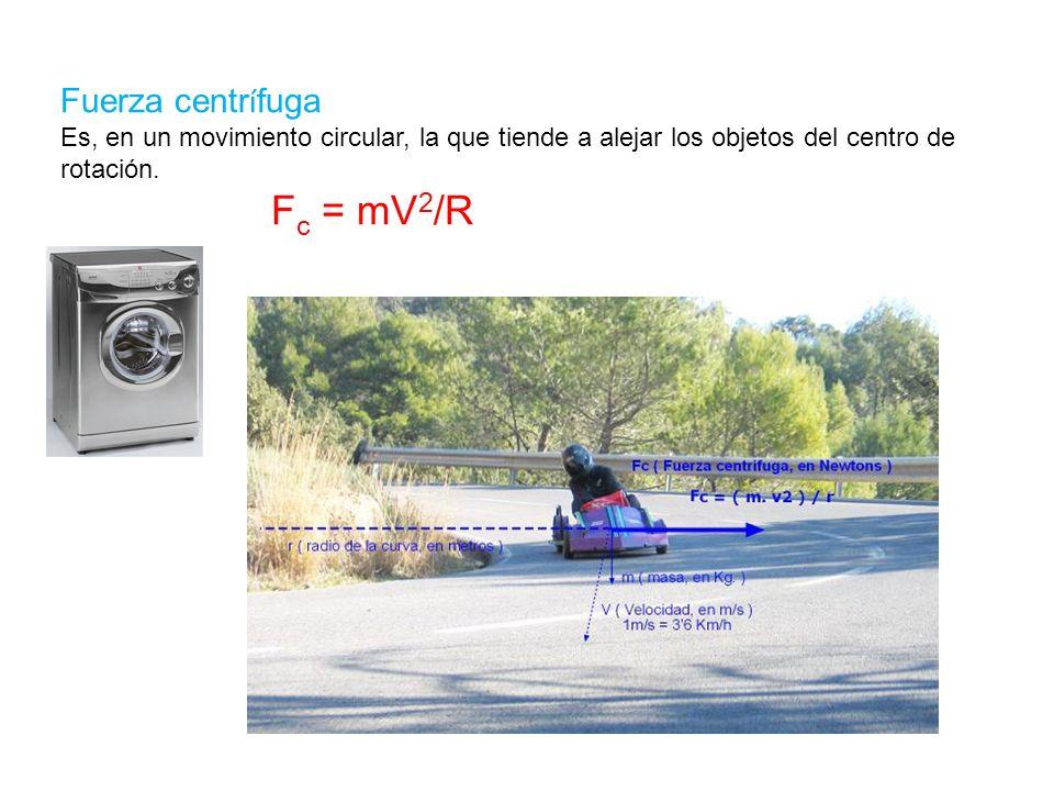 Fuerza centr í fuga Es, en un movimiento circular, la que tiende a alejar los objetos del centro de rotación. F c = mV 2 /R