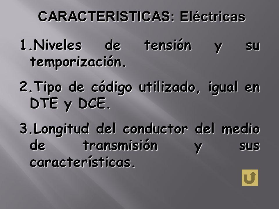 CARACTERISTICAS: Eléctricas 1.Niveles de tensión y su temporización. 2.Tipo de código utilizado, igual en DTE y DCE. 3.Longitud del conductor del medi