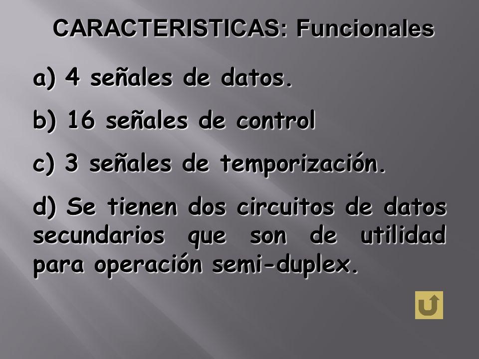 CARACTERISTICAS: Funcionales a) 4 señales de datos. b) 16 señales de control c) 3 señales de temporización. d) Se tienen dos circuitos de datos secund