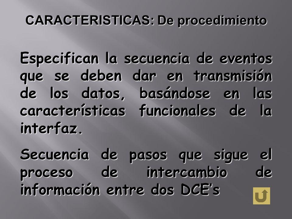 CARACTERISTICAS: De procedimiento Especifican la secuencia de eventos que se deben dar en transmisión de los datos, basándose en las características f