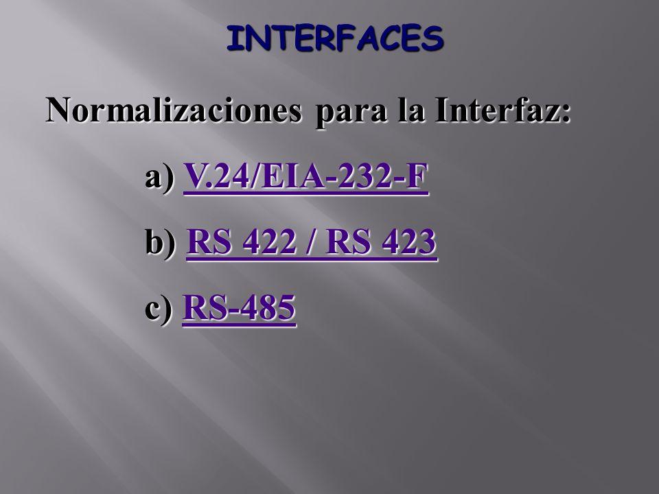 INTERFACES Normalizaciones para la Interfaz: a) V.24/EIA-232-F V.24/EIA-232-F b) RS 422 / RS 423 RS 422 / RS 423RS 422 / RS 423 c) RS-485 RS-485