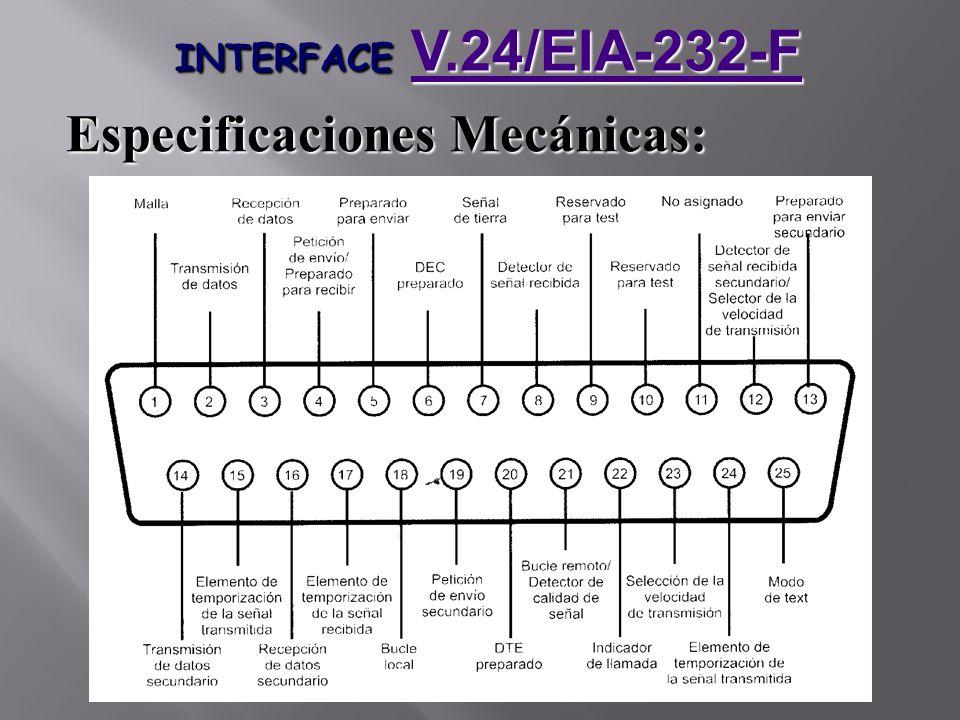INTERFACE V.24/EIA-232-F V.24/EIA-232-F Especificaciones Mecánicas: