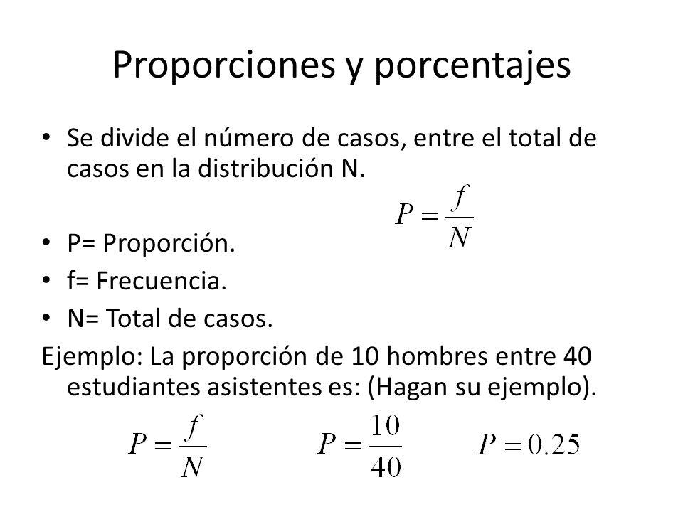 Proporciones y porcentajes Se divide el número de casos, entre el total de casos en la distribución N. P= Proporción. f= Frecuencia. N= Total de casos
