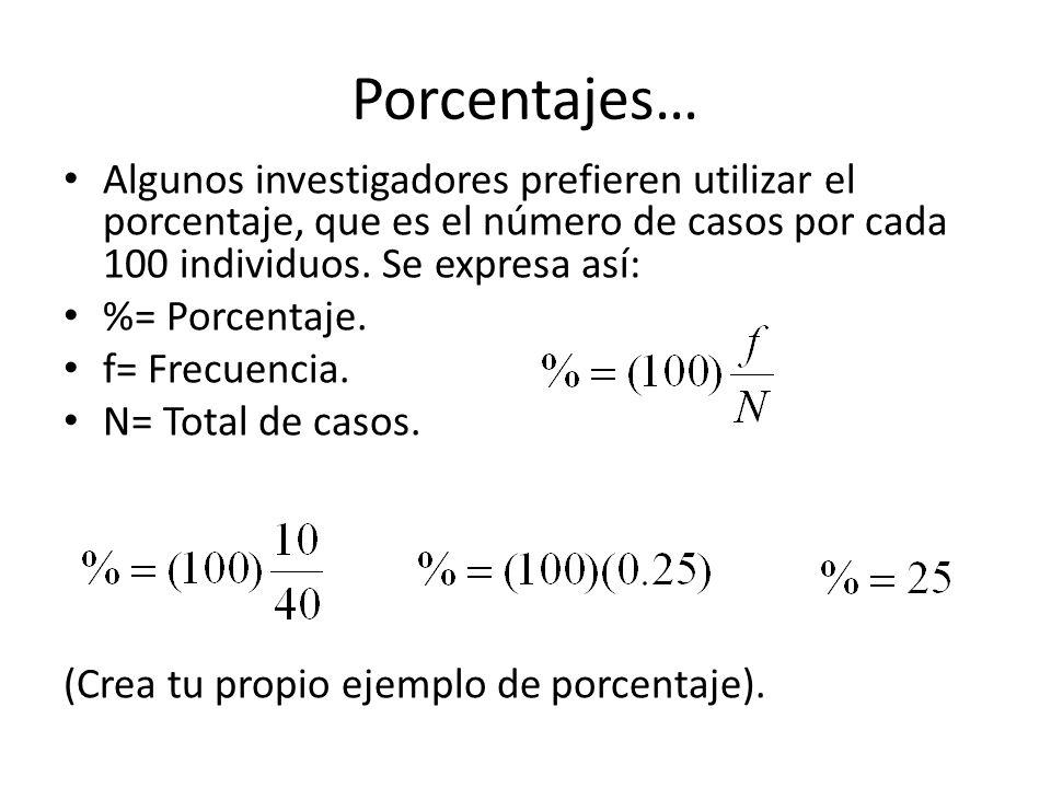 Porcentajes… Algunos investigadores prefieren utilizar el porcentaje, que es el número de casos por cada 100 individuos. Se expresa así: %= Porcentaje