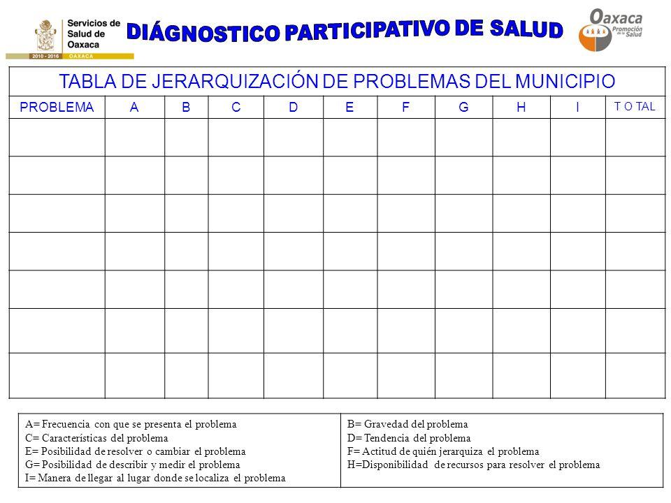 TABLA DE JERARQUIZACIÓN DE PROBLEMAS DEL MUNICIPIO PROBLEMAABCDEFGHI T O TAL A= Frecuencia con que se presenta el problema C= Características del prob