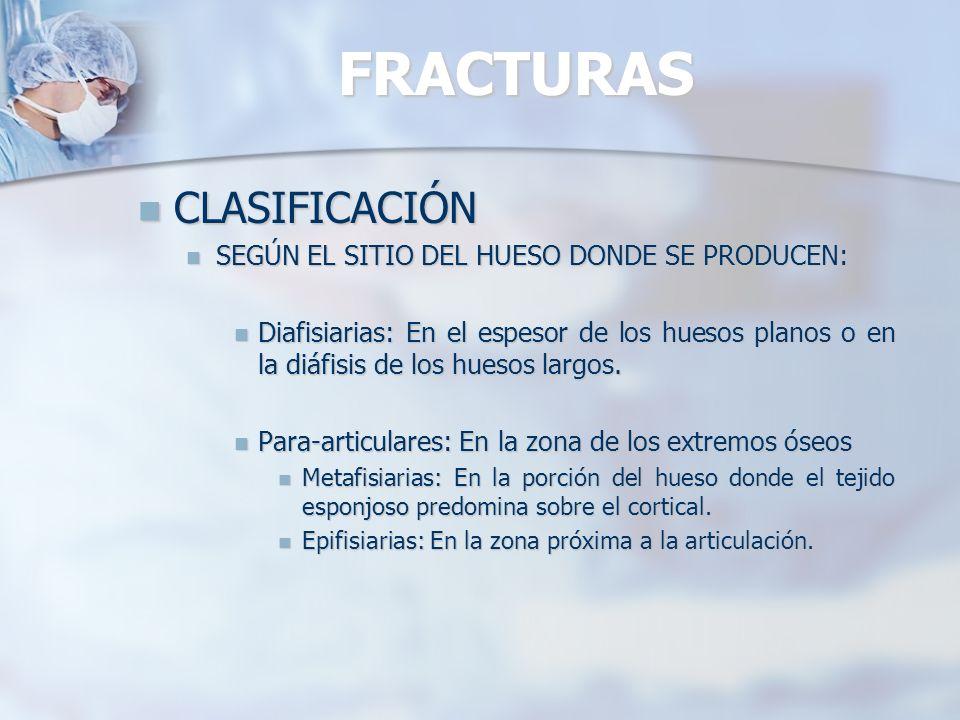 FRACTURAS CLASIFICACIÓN AO DE LAS FRACTURAS: CLASIFICACIÓN AO DE LAS FRACTURAS: Procedimiento: Procedimiento: Localización: 1, 2, 3, 4 Localización: 1, 2, 3, 4 Segmento: 1, 2, 3 Segmento: 1, 2, 3 Tipo: A, B, C Tipo: A, B, C Grupos: A.1, A.2, A.3, B.1,… Grupos: A.1, A.2, A.3, B.1,… Subgrupos: A.1.1, A.1.2, A.1.3,… Subgrupos: A.1.1, A.1.2, A.1.3,…