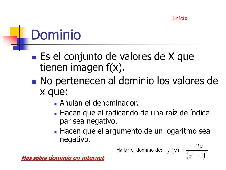 Dominio Es el conjunto de valores de X que tienen imagen f(x). No pertenecen al dominio los valores de x que: Anulan el denominador. Hacen que el radi