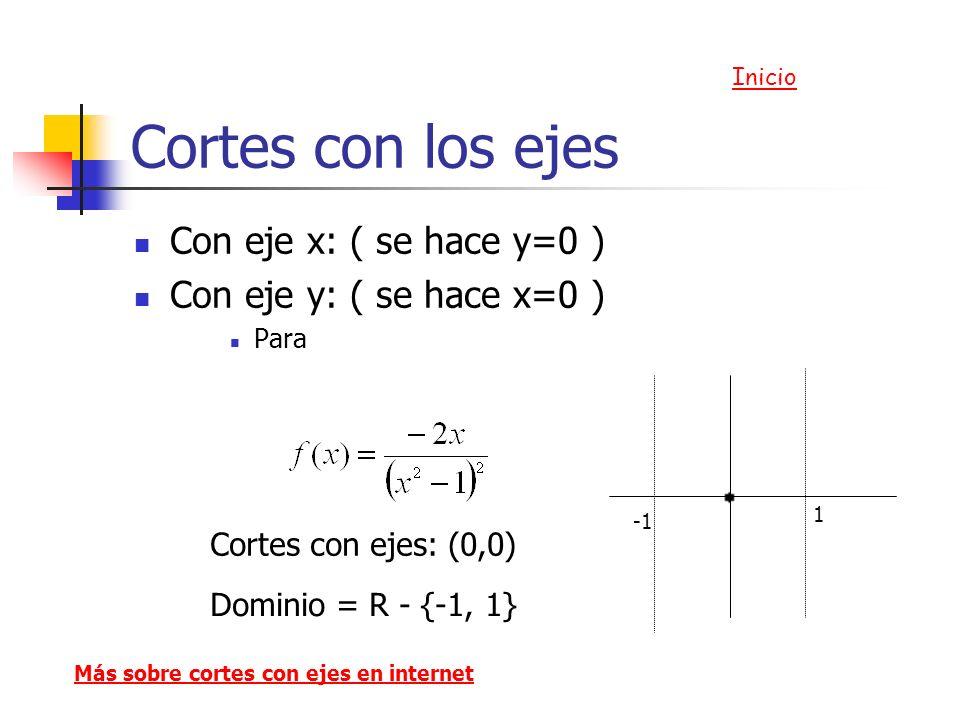 Cortes con los ejes Con eje x: ( se hace y=0 ) Con eje y: ( se hace x=0 ) Para Cortes con ejes: (0,0) Más sobre cortes con ejes en internet Dominio =