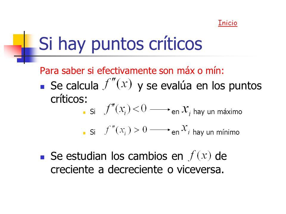 Si hay puntos críticos Para saber si efectivamente son máx o mín: Se calcula y se evalúa en los puntos críticos: Si en hay un máximo Si en hay un míni