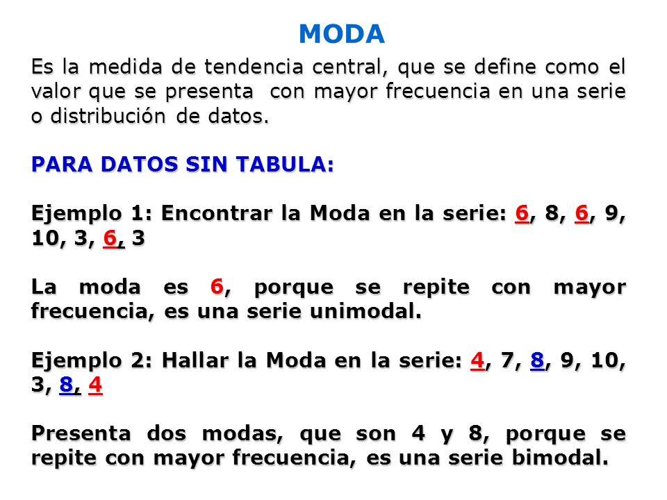 MODA Es la medida de tendencia central, que se define como el valor que se presenta con mayor frecuencia en una serie o distribución de datos.