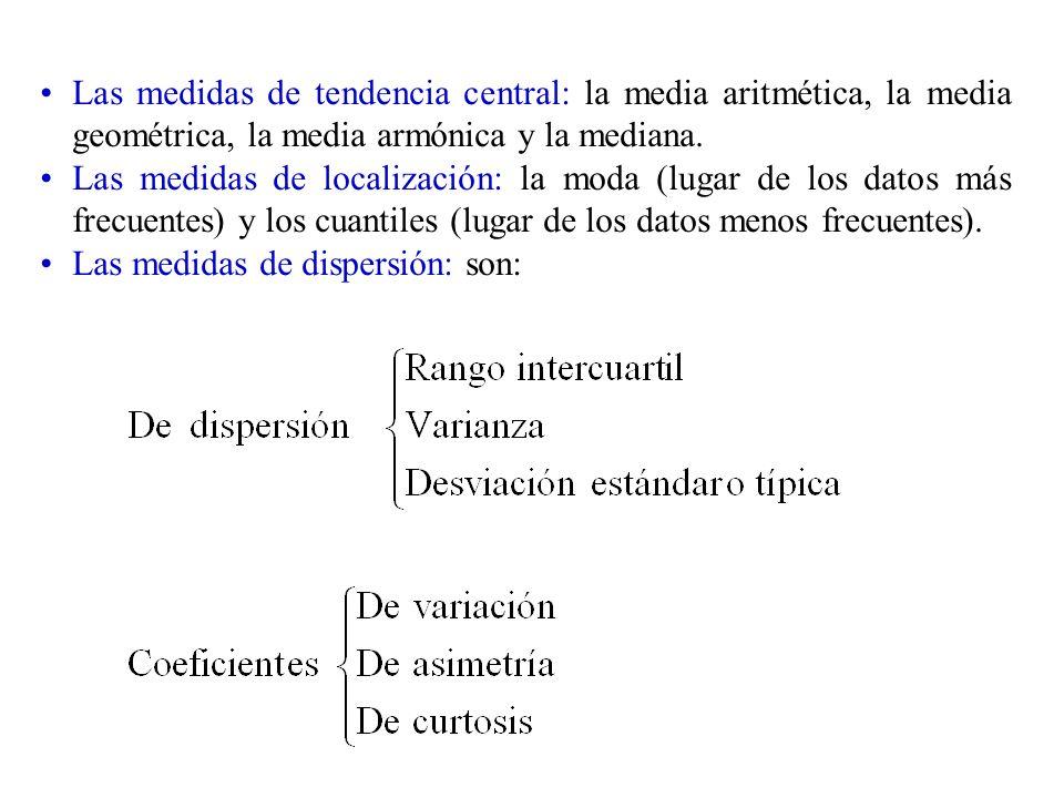 Las medidas de tendencia central: la media aritmética, la media geométrica, la media armónica y la mediana.