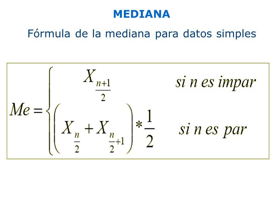 MEDIANA Fórmula de la mediana para datos simples