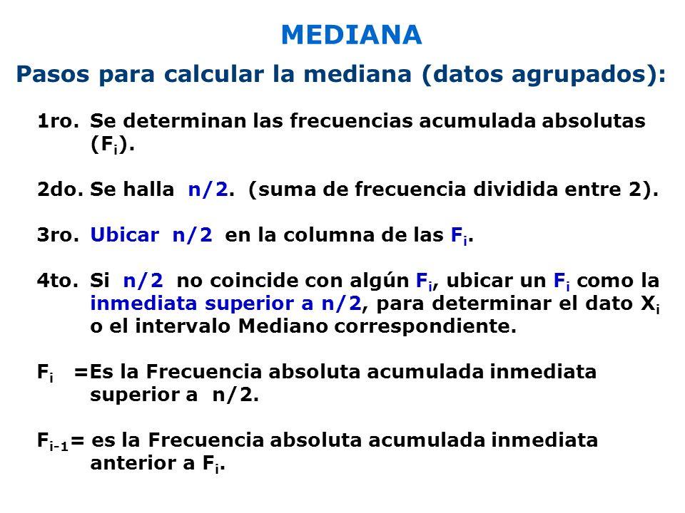 MEDIANA 1ro.Se determinan las frecuencias acumulada absolutas (F i ).