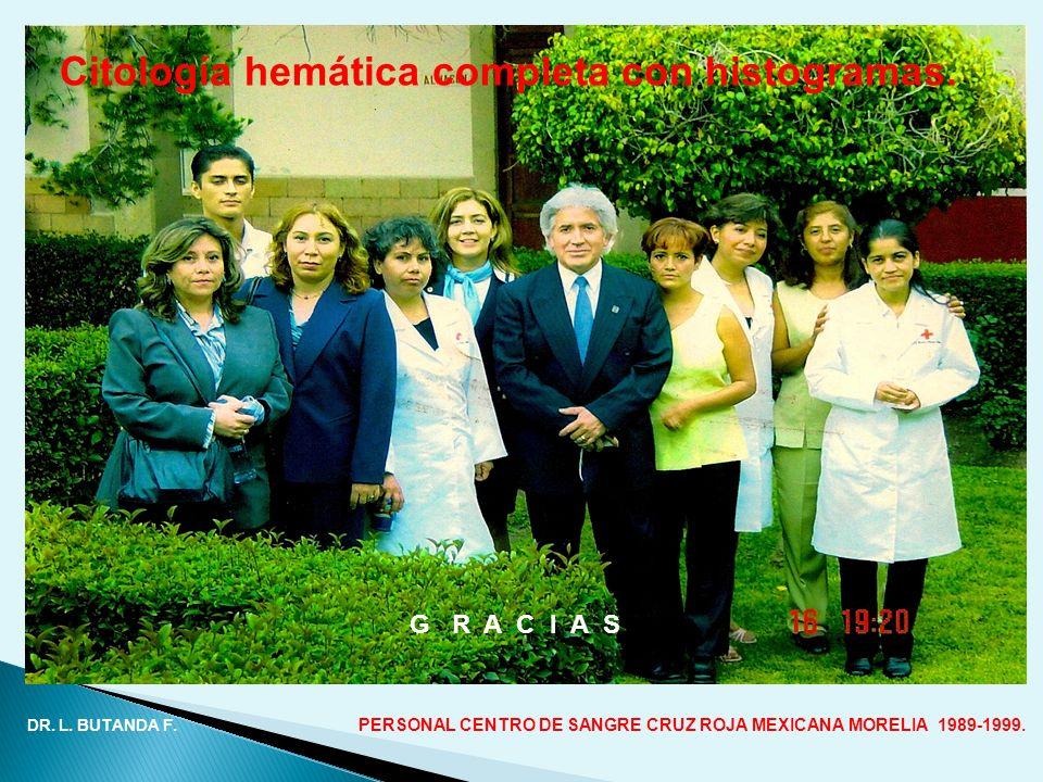 DR. L. BUTANDA F. PERSONAL CENTRO DE SANGRE CRUZ ROJA MEXICANA MORELIA 1989-1999. G R A C I A S Citología hemática completa con histogramas.