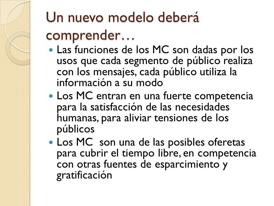 Un nuevo modelo deberá comprender… Las funciones de los MC son dadas por los usos que cada segmento de público realiza con los mensajes, cada público