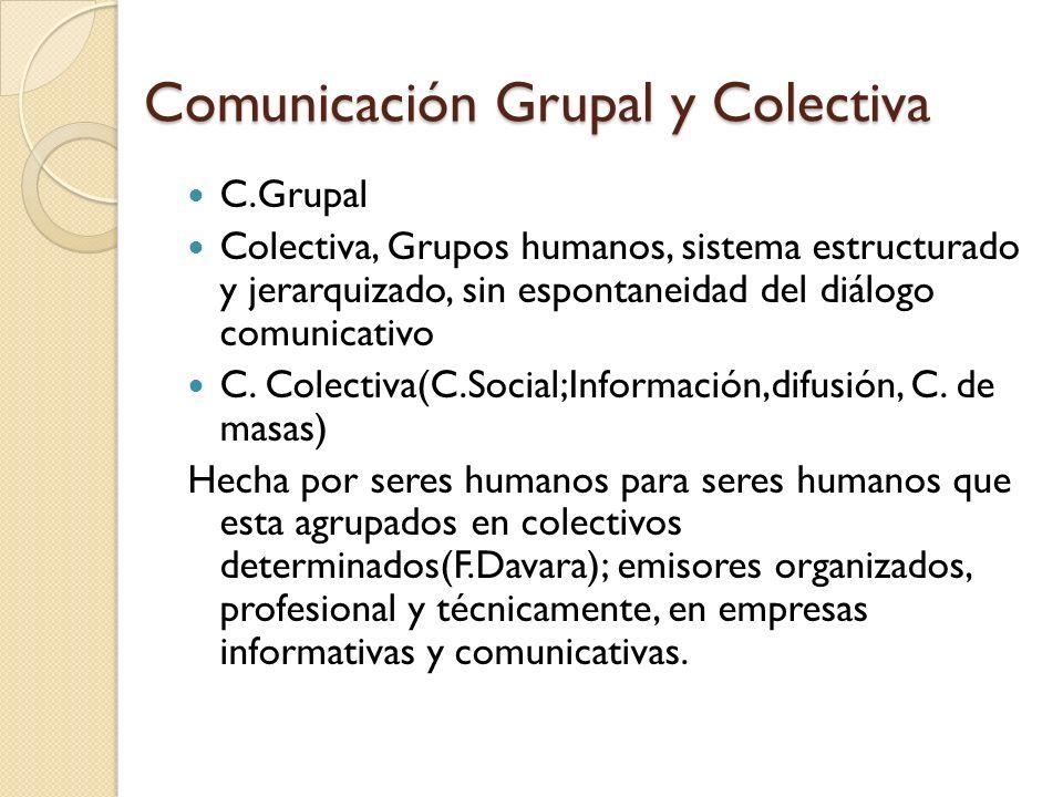 Comunicación Colectiva Actividad de producir idénticos mensajes, de un modo potencialmente ilimitado con pretensión de simultaneidad de la transmisión a través de los medios de comunicación, a un público heterogéneo y disperso.