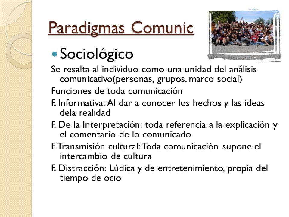 Paradigmas Comunic Sociológico Se resalta al individuo como una unidad del análisis comunicativo(personas, grupos, marco social) Funciones de toda com