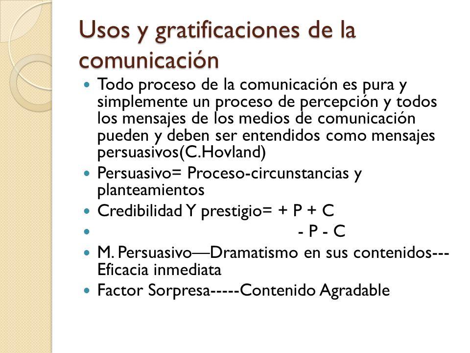 Análisis de contextos y de las interacciones sociales Gratificación en relación al público Comunicadores elaboran mensajes según: Gustos del público Aceptación Mas que por un objetivo de emisión decidido