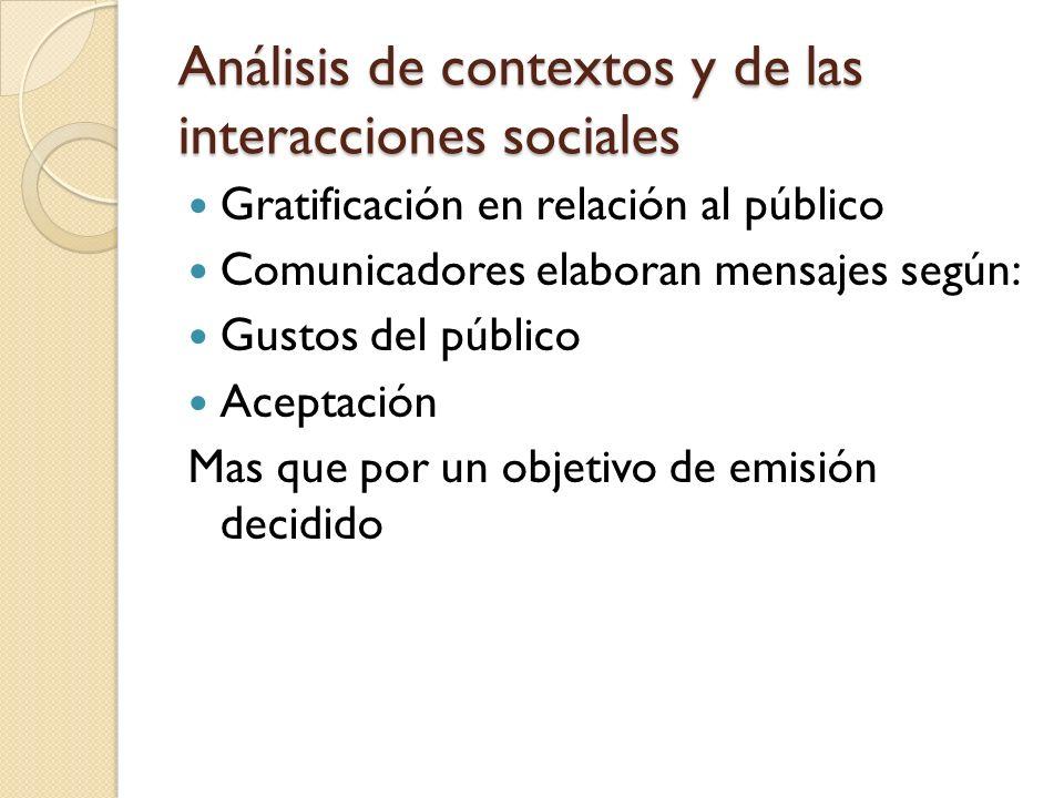 Análisis de contextos y de las interacciones sociales Gratificación en relación al público Comunicadores elaboran mensajes según: Gustos del público A