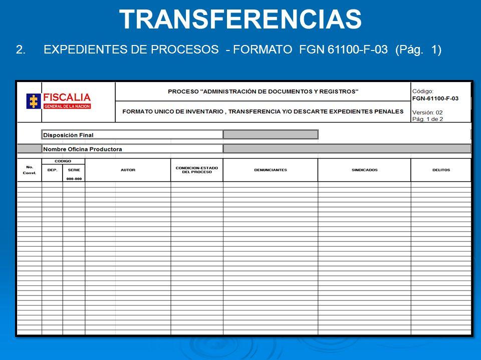 TRANSFERENCIAS 2. EXPEDIENTES DE PROCESOS - FORMATO FGN 61100-F-03 (Pág. 1)