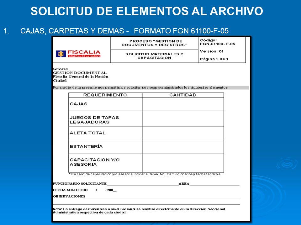 SOLICITUD DE ELEMENTOS AL ARCHIVO 1. CAJAS, CARPETAS Y DEMAS - FORMATO FGN 61100-F-05