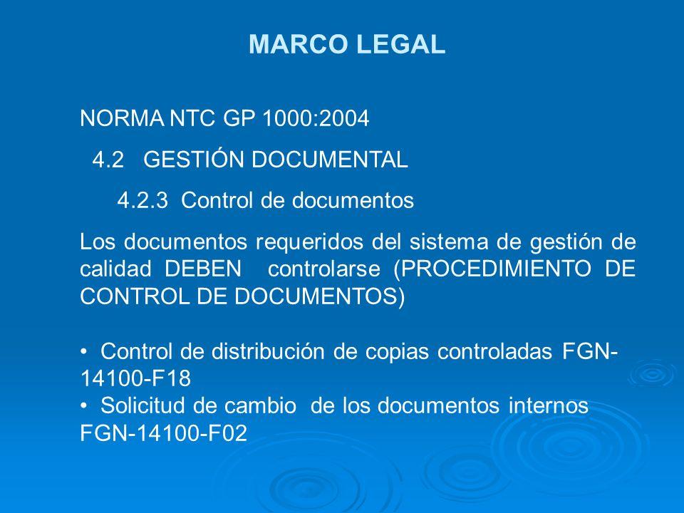 MARCO LEGAL NORMA NTC GP 1000:2004 4.2 GESTIÓN DOCUMENTAL 4.2.3 Control de documentos Los documentos requeridos del sistema de gestión de calidad DEBE