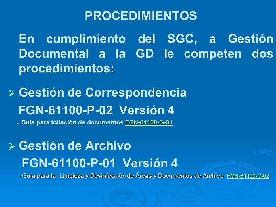 PROCEDIMIENTOS En cumplimiento del SGC, a Gestión Documental a la GD le competen dos procedimientos: Gestión de Correspondencia FGN-61100-P-02 Versión